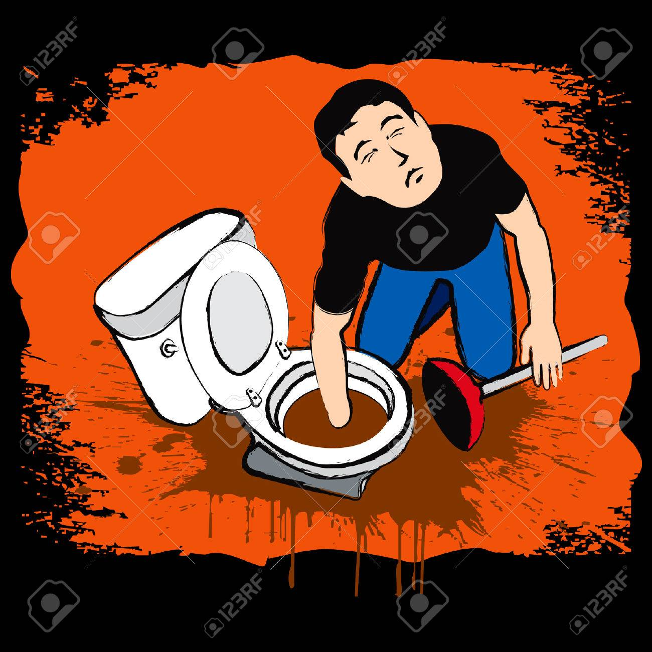 Man fixing hard dirty troubleshooting at restroom Stock Vector - 5966021