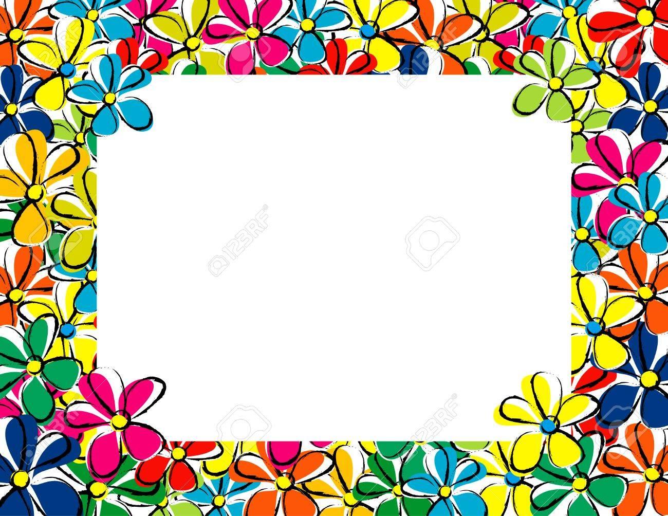 花春フレームのイラスト素材ベクタ Image 6099935