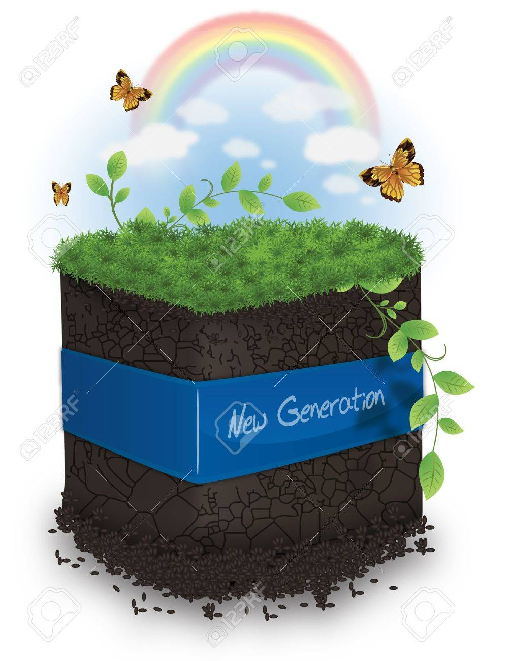 Green Eart Concept with Butterfly, Grass and Leafs Stock Vector - 11264175