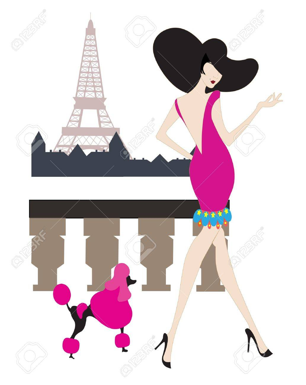 french girl at the Eiffel tower Stock Vector - 13066249
