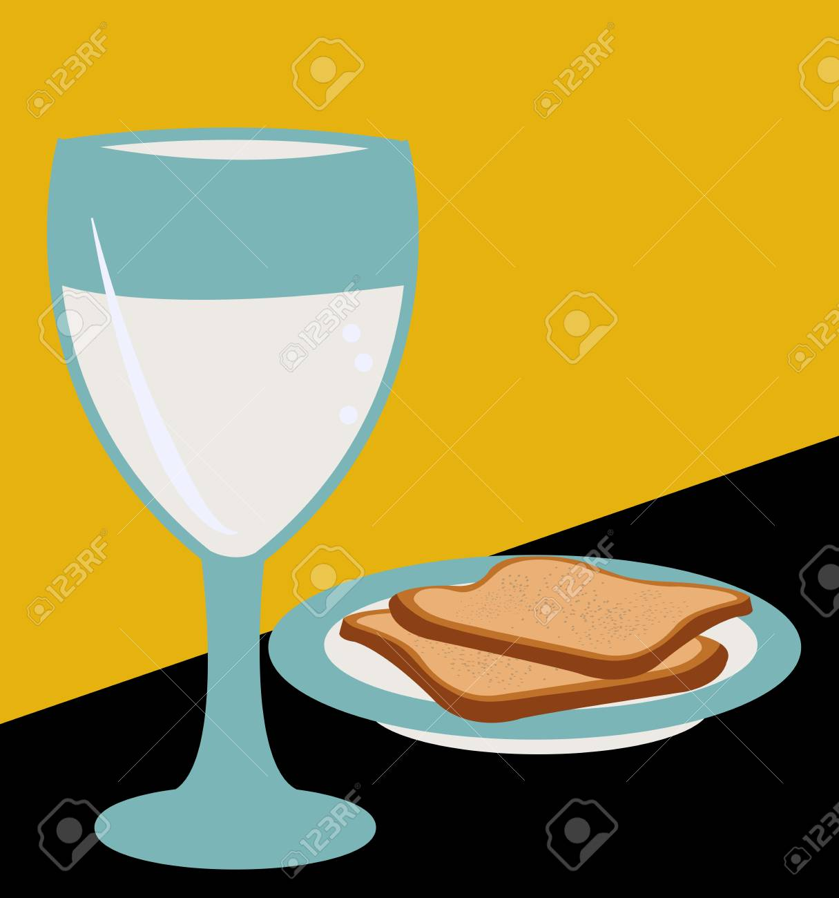 Illustration Of Two Slices Of Bread On A Plate With A Glass Of Royalty Free Cliparts Vectors And Stock Illustration Image 124923681