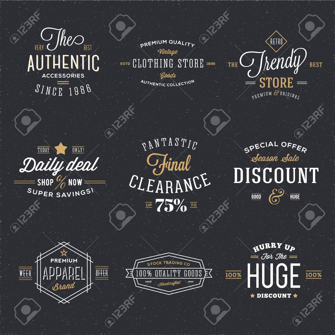 Retro Typography Vector Discount And Sale Labels Or Logo Templates ...