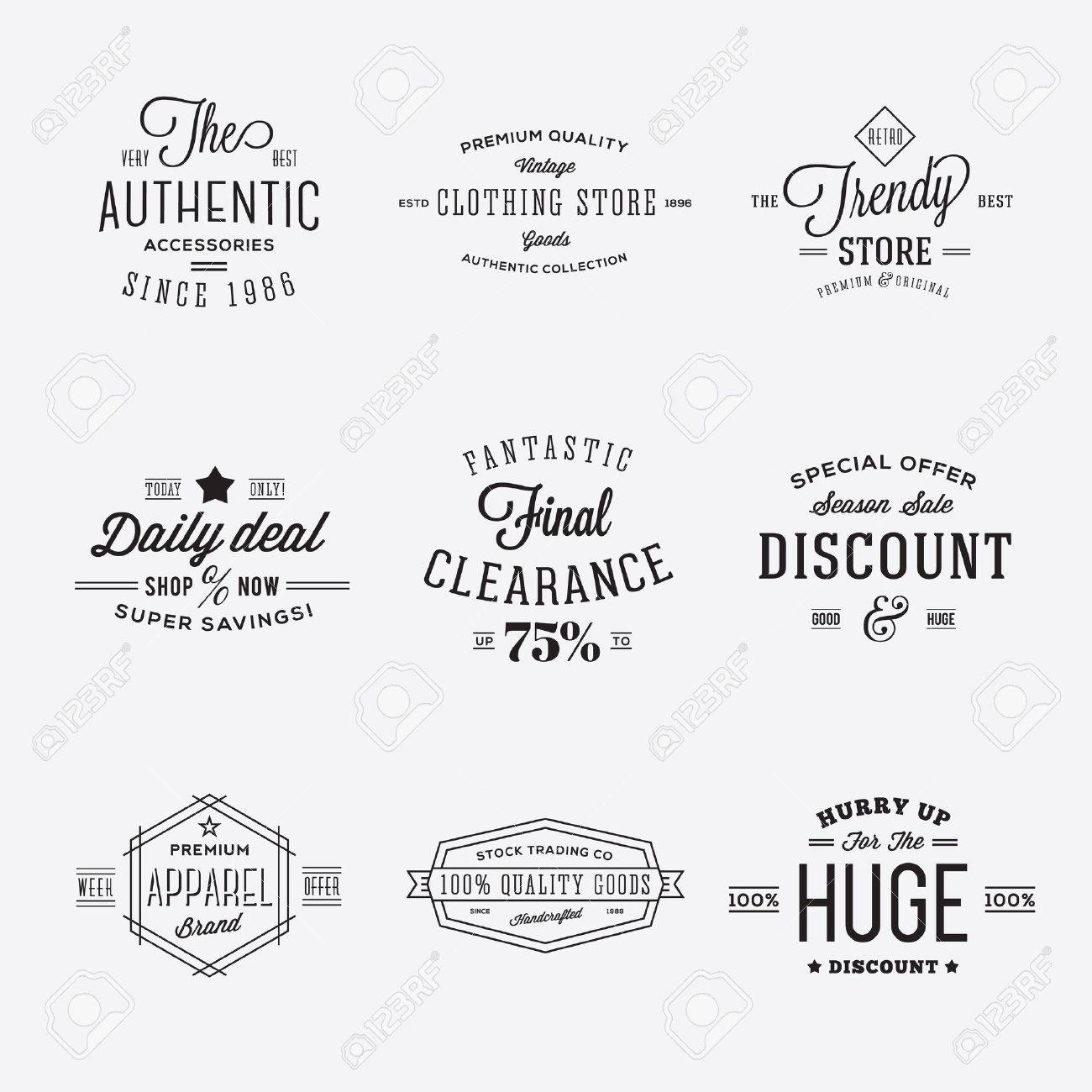 Retro Typography Vector Discount and Sale Labels or Logo Templates Isolated - 38814485
