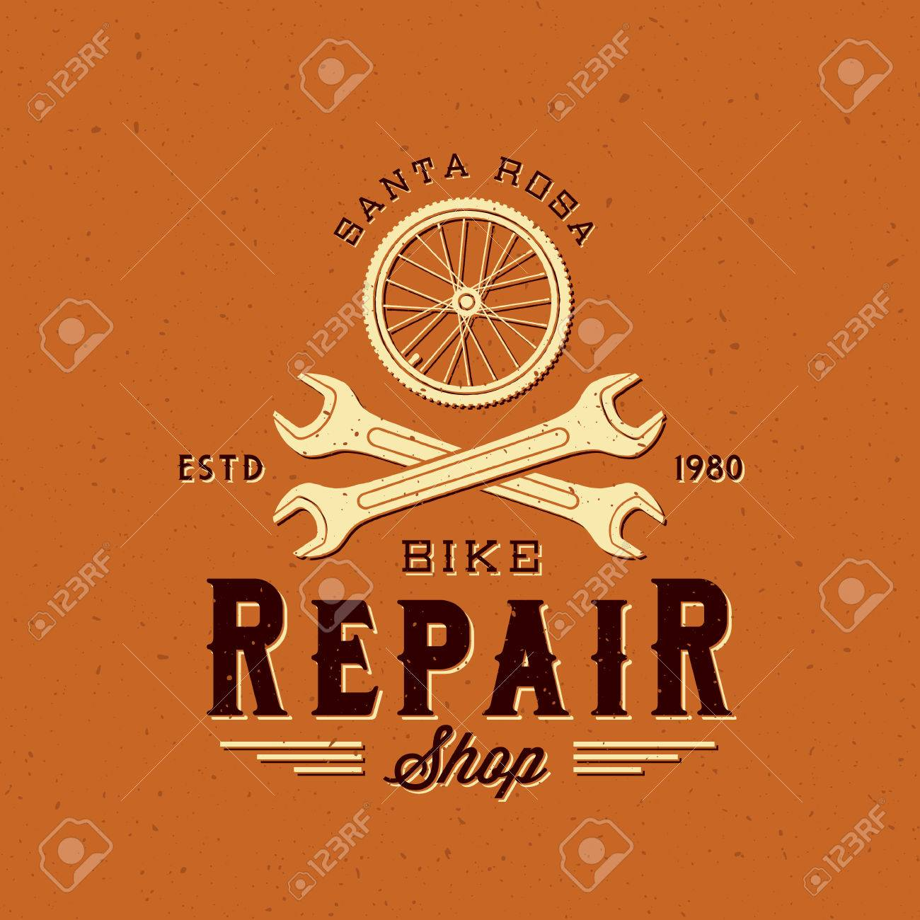 Retro Bycicle Repair Vector Label or Logo Template - 39318777