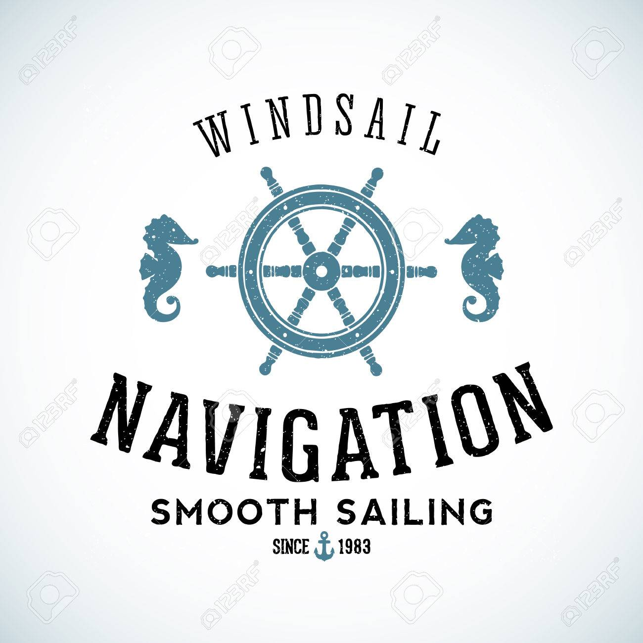 Maritime Navigation Zusammenfassung Vektor-Logo-Vorlage Mit Shabby ...