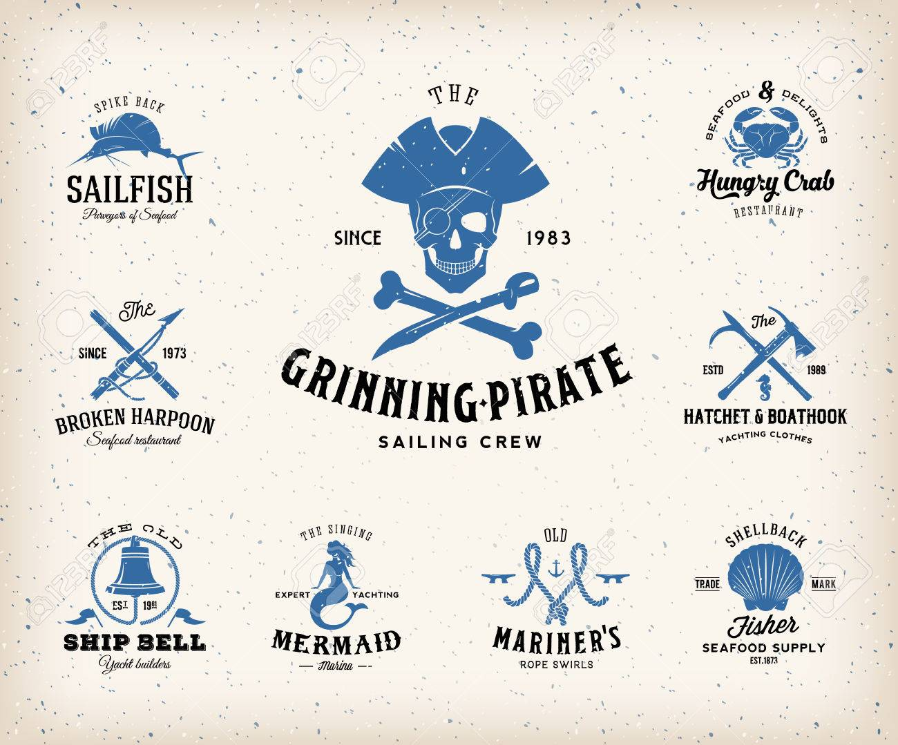 Shirt design elements - Vintage Nautical Labels Or Design Elements With Retro Textures And Typography Pirates Harpoons