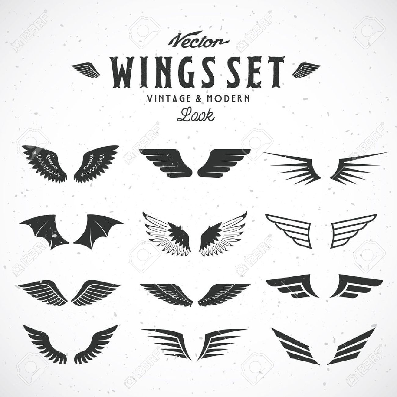 abstract vector wings big set both retro and modern look with