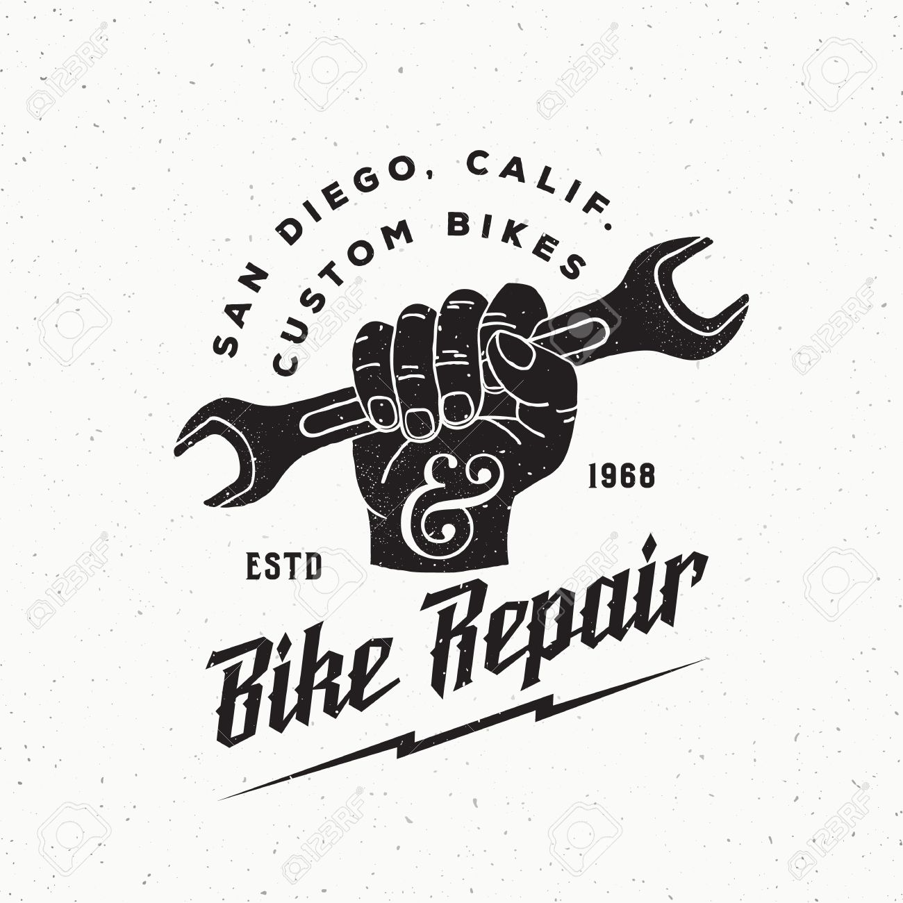 Bike Repair Abstract Vintage Sign, Label Or Template. Fist Holding ...