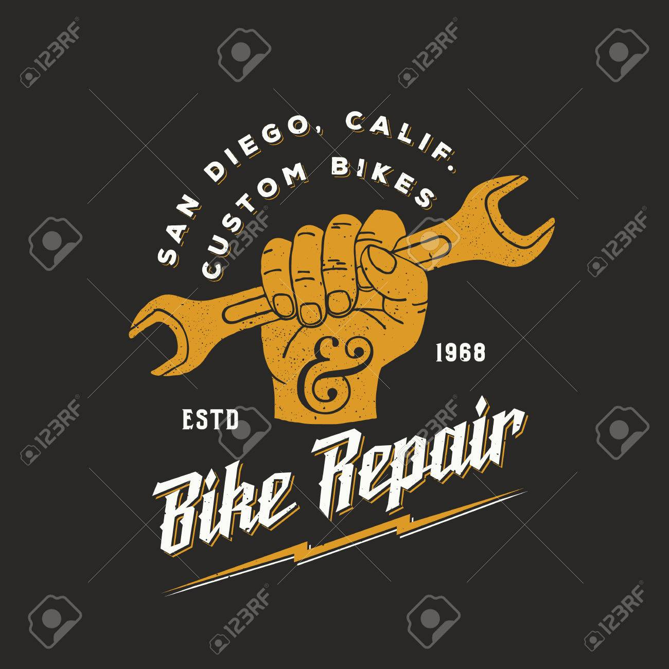 bike repair abstract vintage sign label or template fist holding
