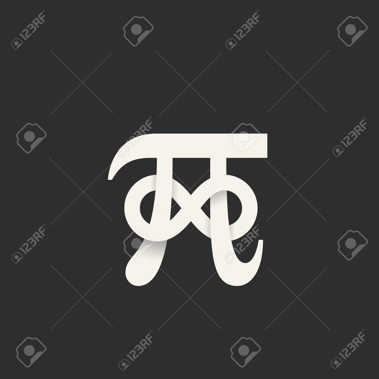 Pi Symbol With Infinity Sign Abstract Icon Label Or Illustration