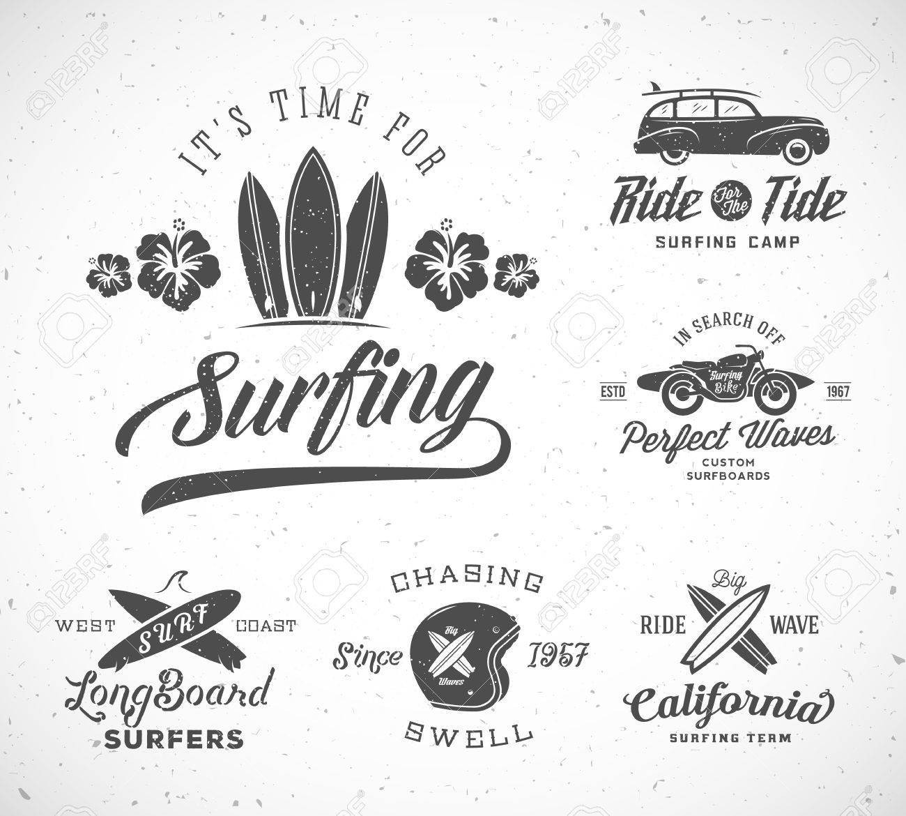 vector retro style surfing labels templates or t shirt graphic