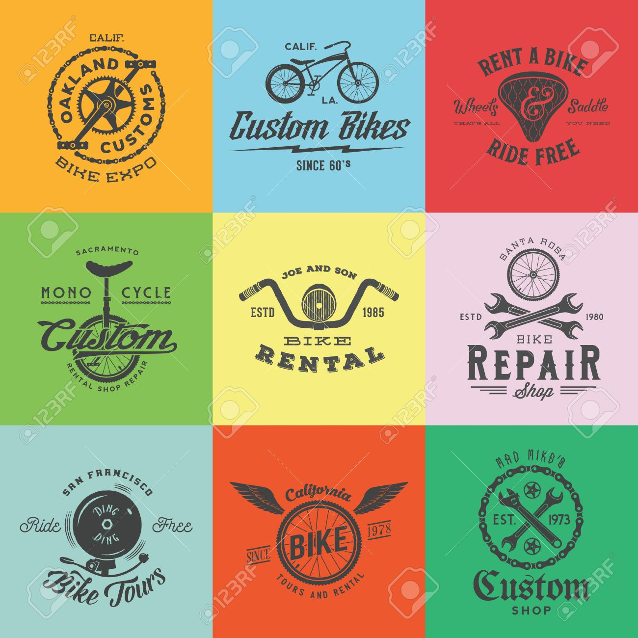 Retro custom bicycle vector labels templates set bike symbols retro custom bicycle vector labels templates set bike symbols such as chains wheels biocorpaavc Images