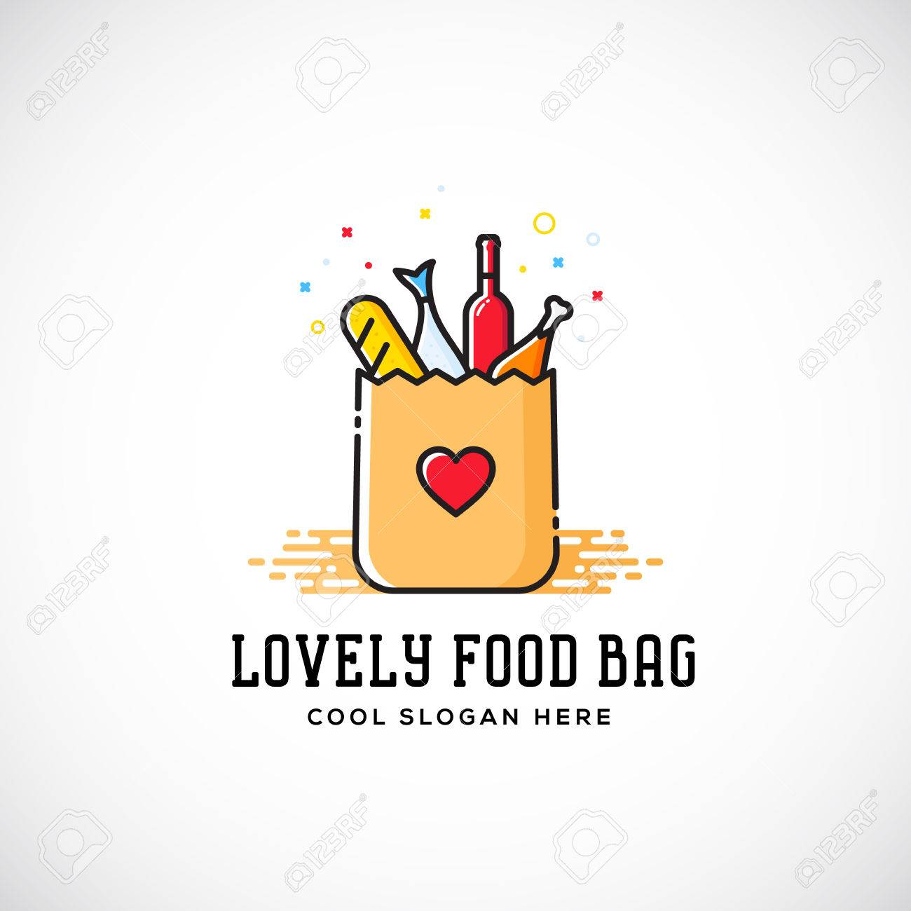 Lovely Food Paper Bag With Heart Symbol, Bread, Wine, Fish, Etc ...