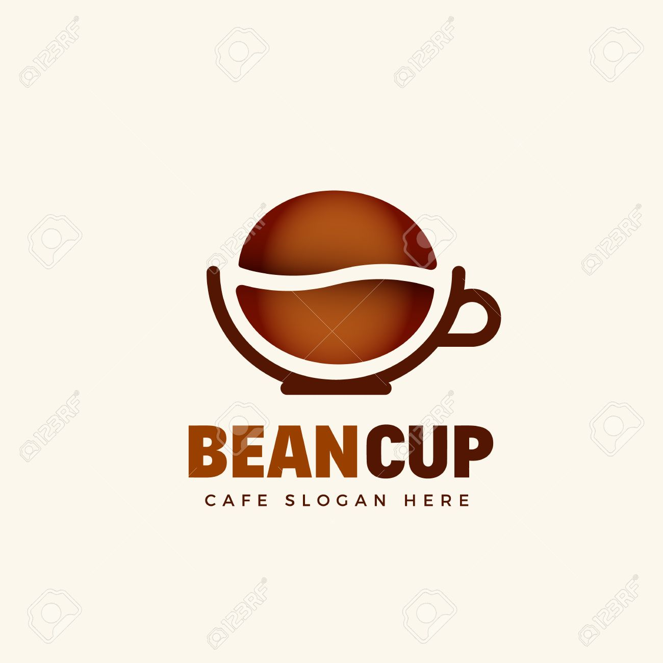 bean cup abstract vector cafe logo template coffee bean and