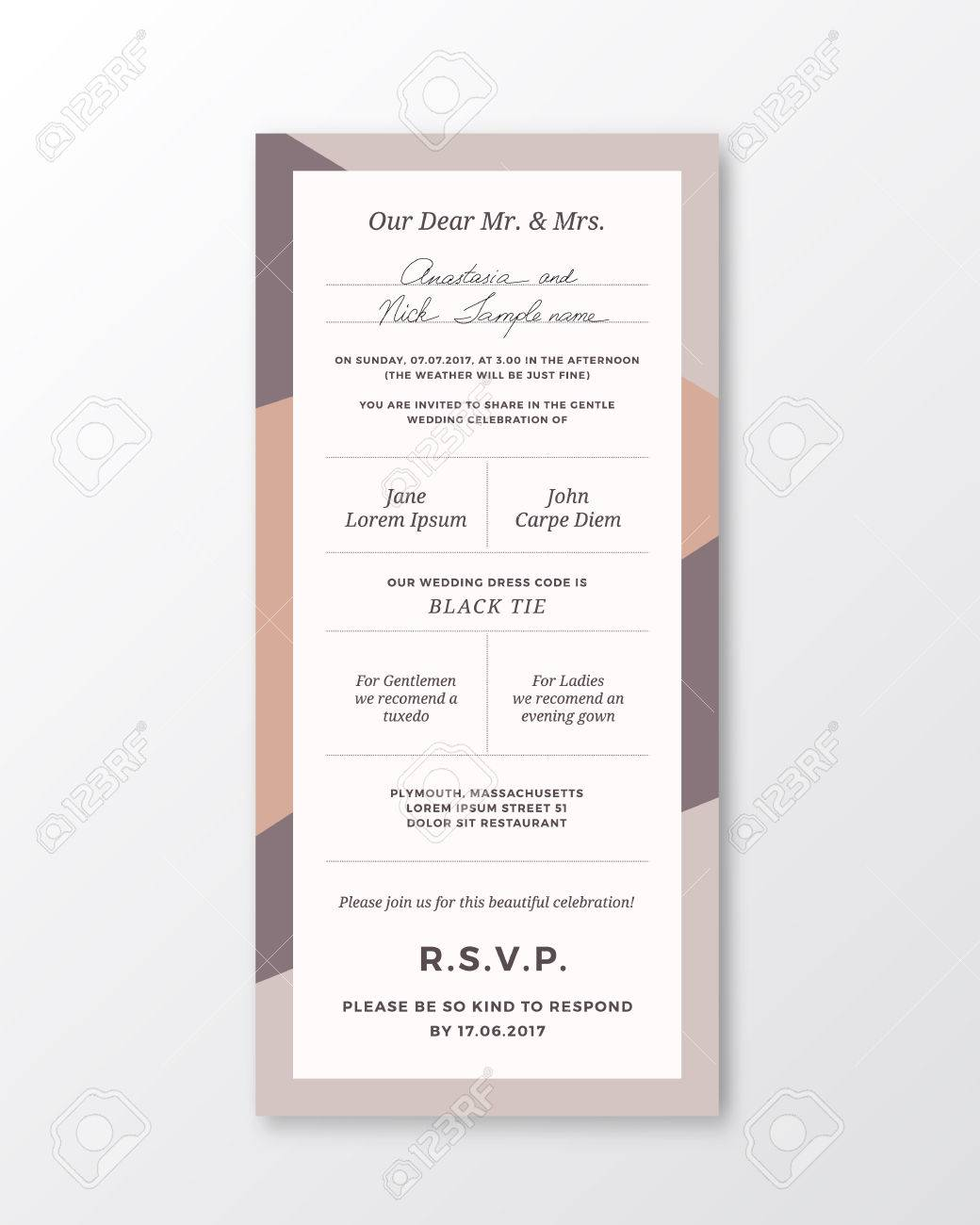 Vector wedding invitation template modern typography and pastel vector wedding invitation template modern typography and pastel colors classy design card with soft stopboris Images