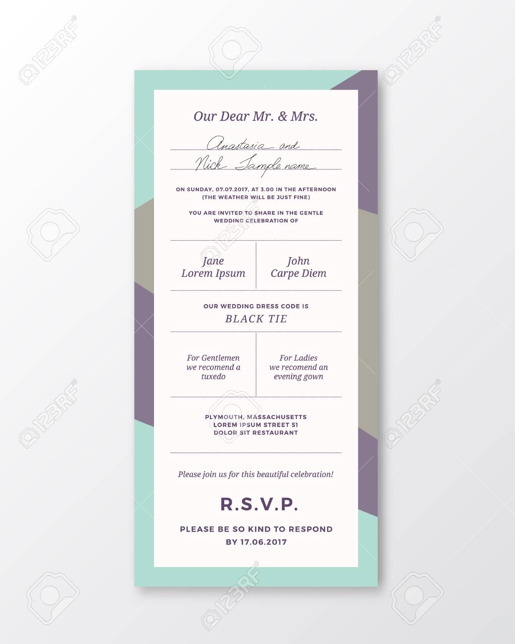 Vector Wedding Invitation Template Modern Typography And Pastel