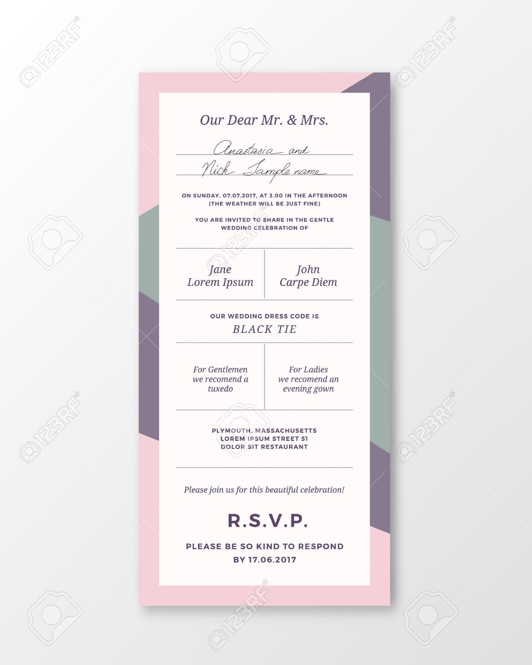 Vector wedding invitation template modern typography and pastel vector wedding invitation template modern typography and pastel violet pink colors classy design stopboris Images