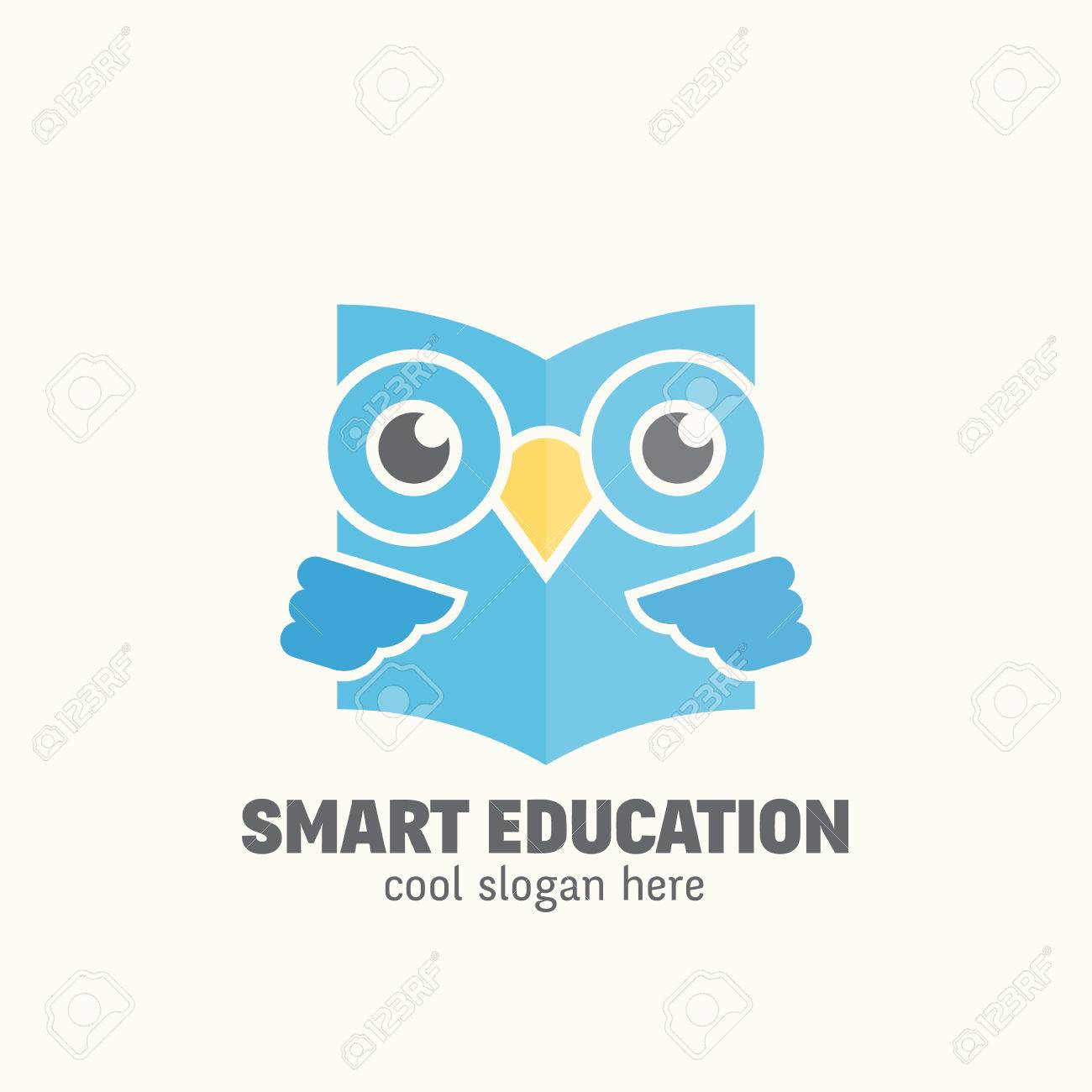 Smart Education Abstract Vector Logo Template Learning Emblem Flat Style Wise Owl Reading Book
