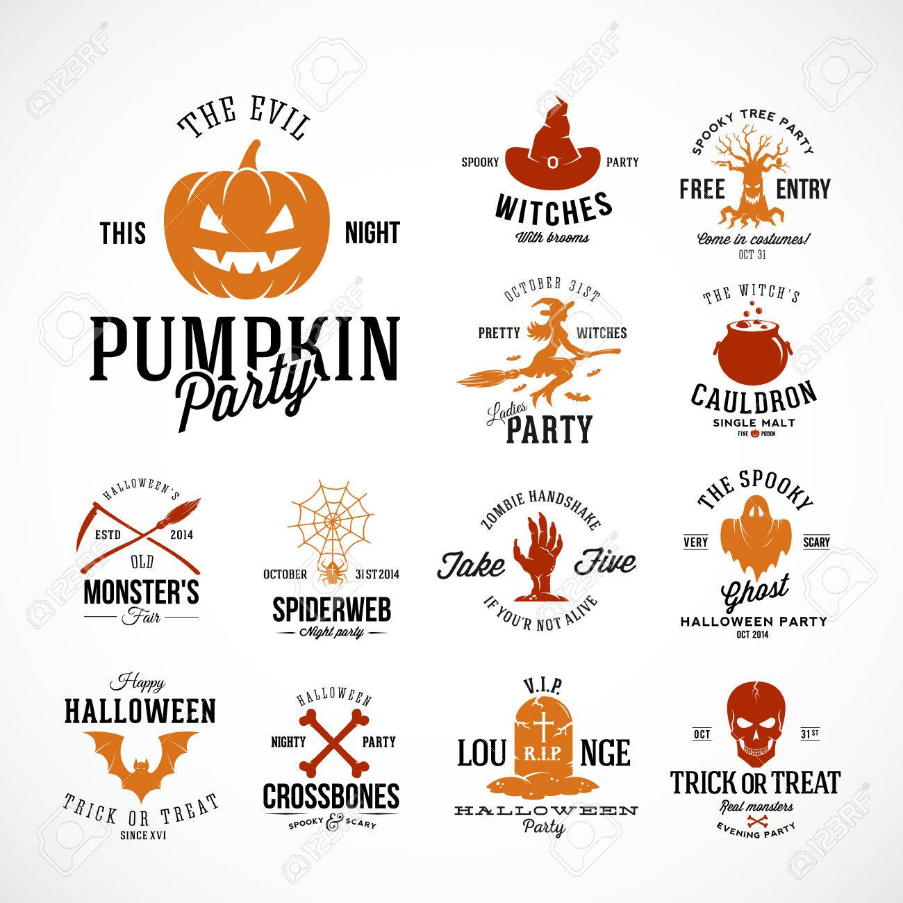 Vintage Halloween Vector Badges Or Labels Templates Pumpkin