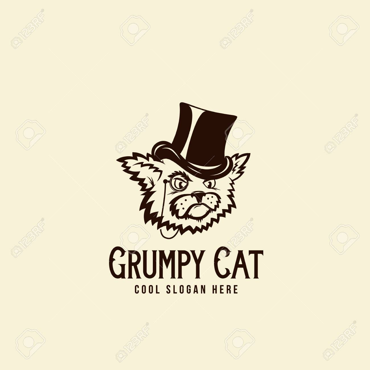 Grumpy rich cat in a cillinder abstract vintage vector sign abstract vintage vector sign symbol or logo template pronofoot35fo Gallery