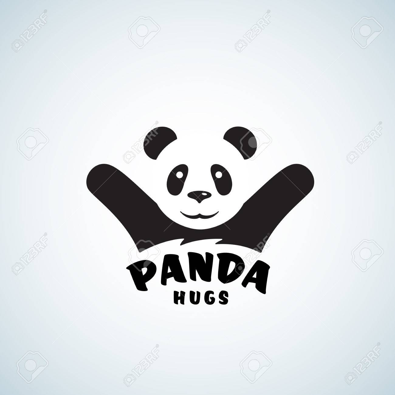 panda hugs abstract vector emblem or logo template funny bear illustration with negative space effect