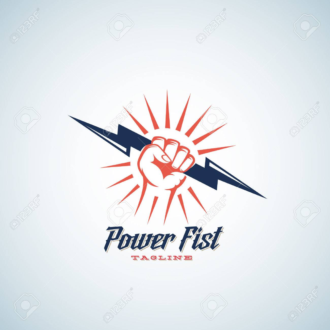Amazing lightning bolt template pictures inspiration entry level power fist abstract vector emblem symbol or logo template hand buycottarizona Image collections