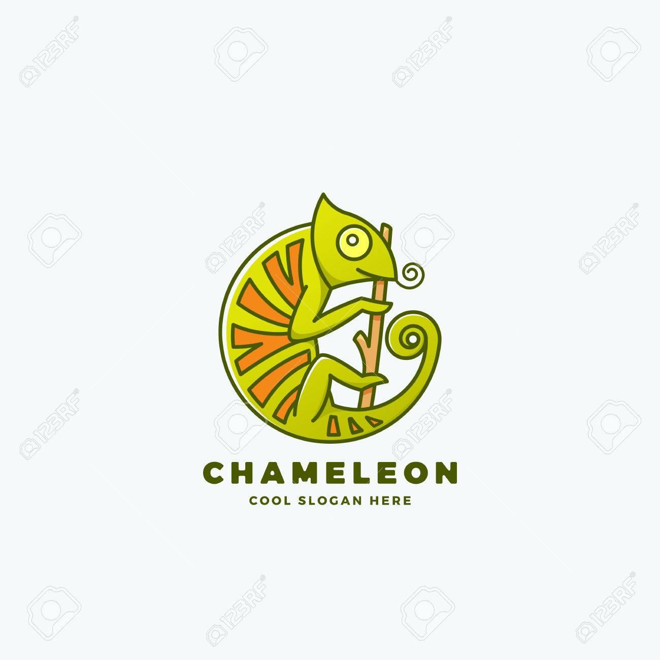 Chamäleon Auf Der Niederlassung In Einem Kreis Form Abstract Vector