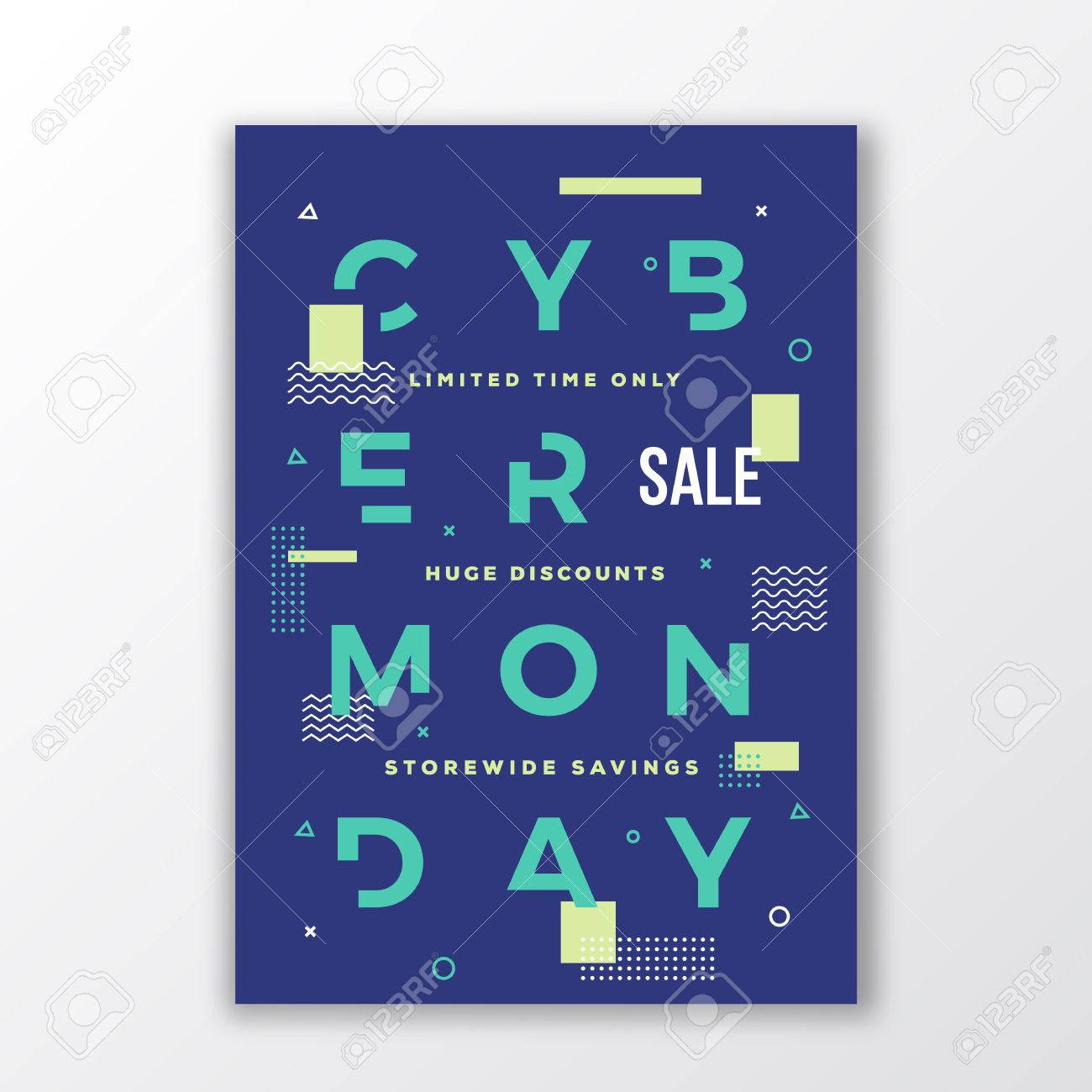 Cyber Monday Minimal Swiss Style Poster Modern Handmade Typography Geometry Decorative Elements And Soft