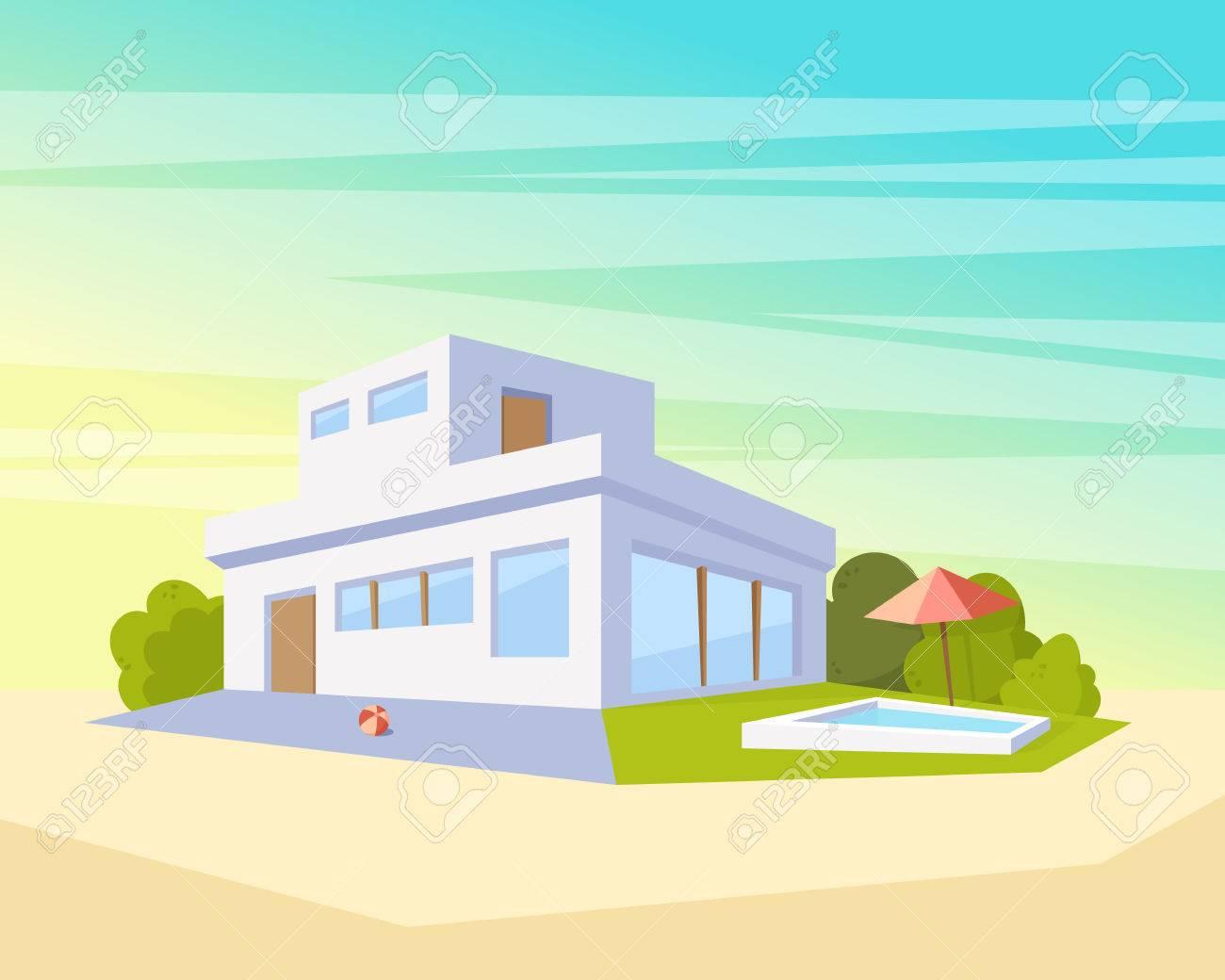 Maison à L\'architecture Moderne De Style Plat Avec Piscine Et ...