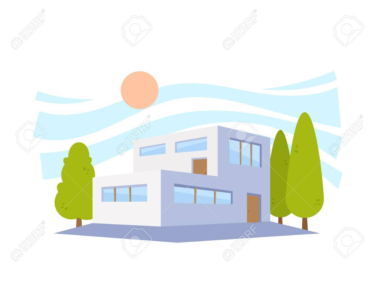 flat style modern architecture house with green trees royalty free rh 123rf com