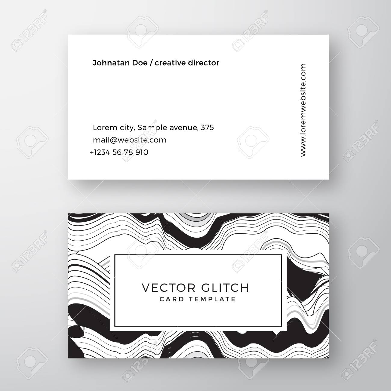 Glitch Abstract Geometry Minimal Vector Business Card Template ...