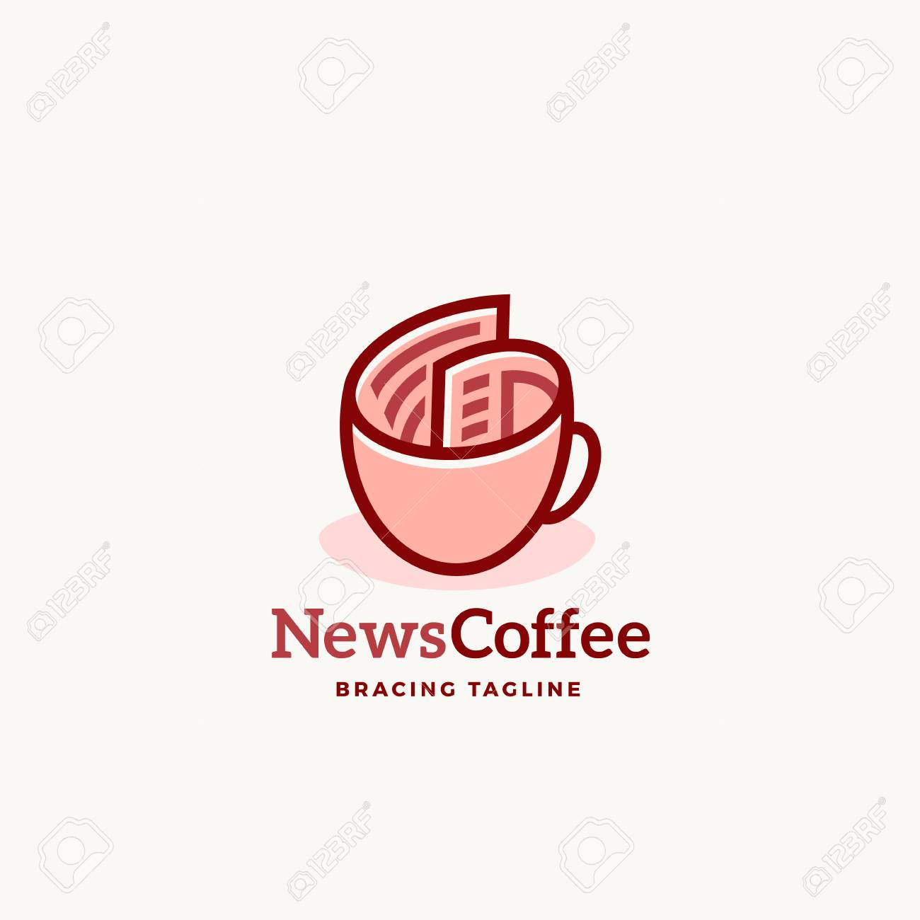 News Coffee Abstract Vector Sign Emblem Or Logo Template. Newspaper ...