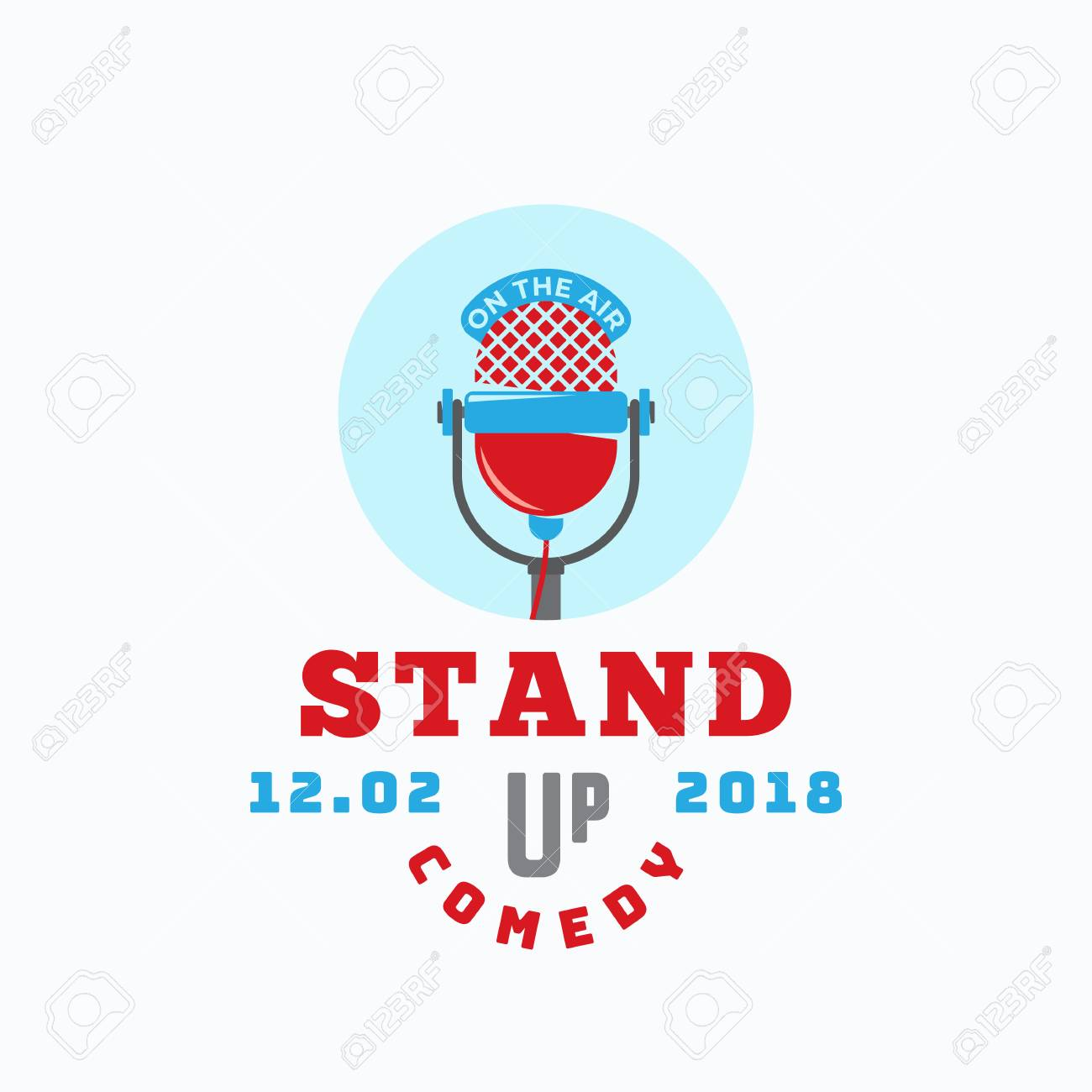 Stand Up Comedy Abstract Vector Sign, Emblem Or Template. Flat ...