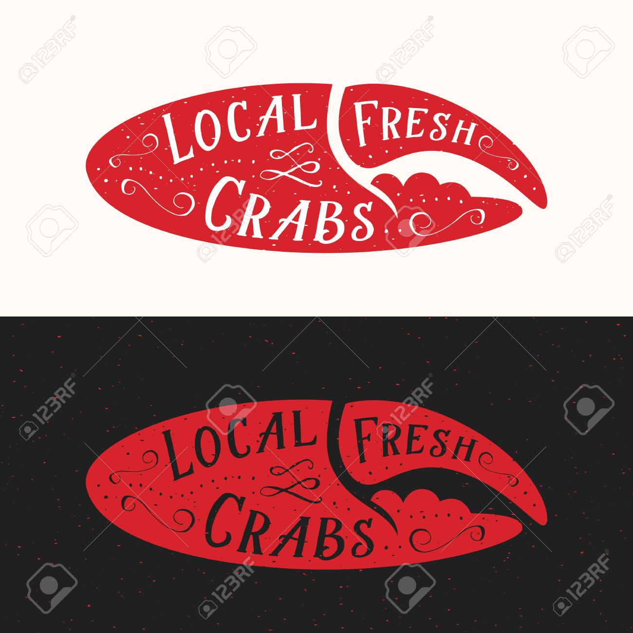 Local Fresh Crabs Sign Seafood Abstract Vector Emblem Icon