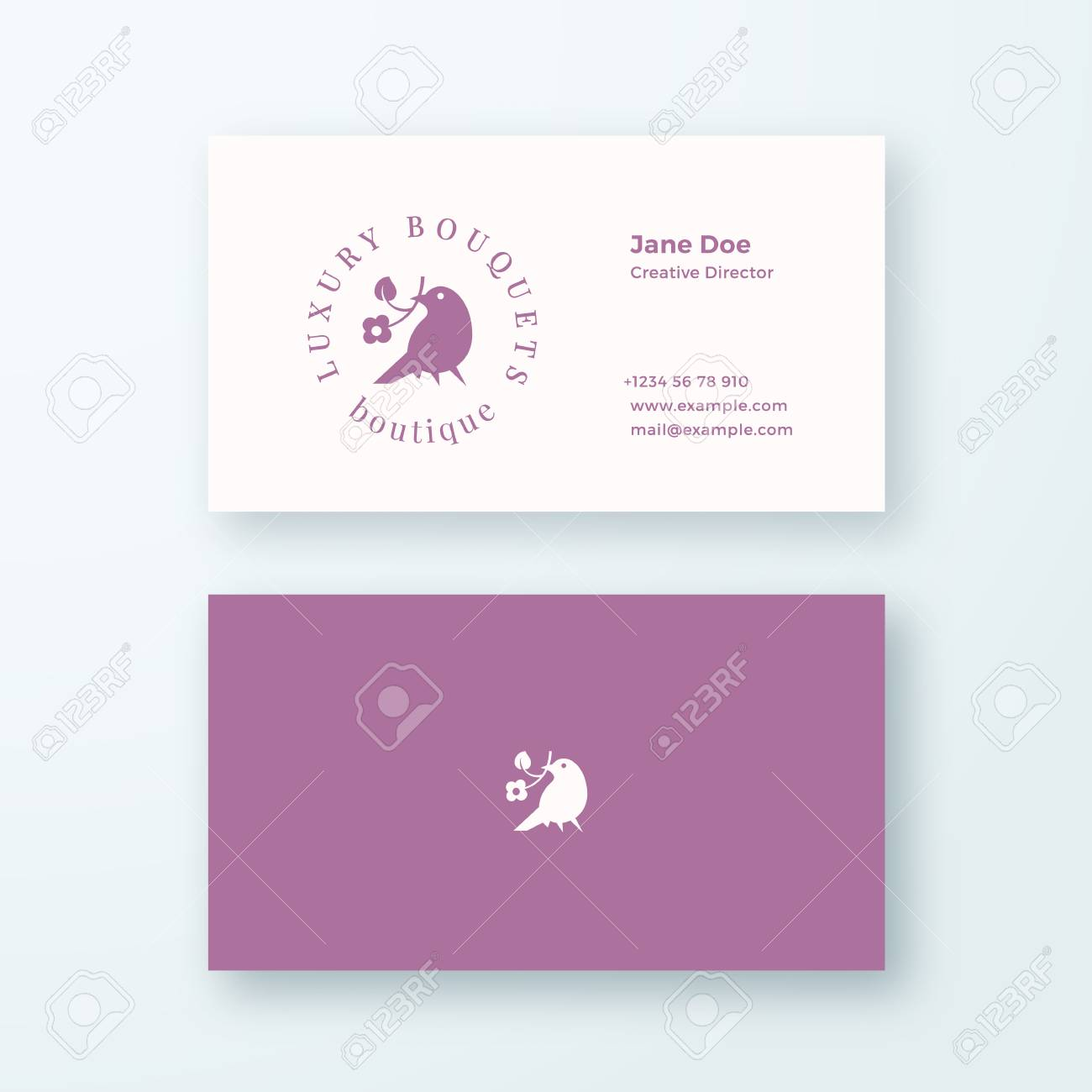 Abstract Feminine Vector Sign, Symbol Or Logo And Business Card ...