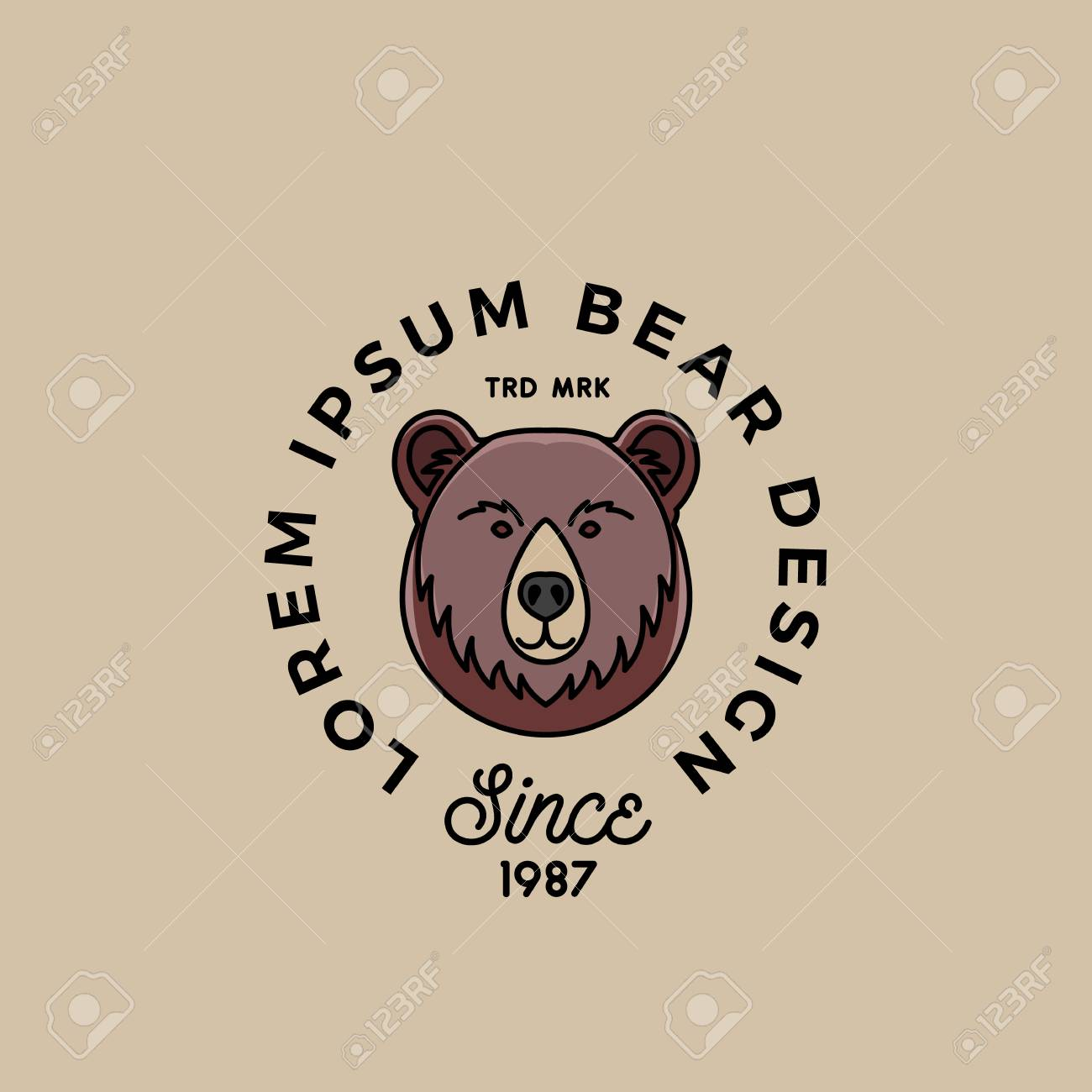 Line Style Bear Face With Retro Typography Abstract Vector Sign Symbol Or Logo Template
