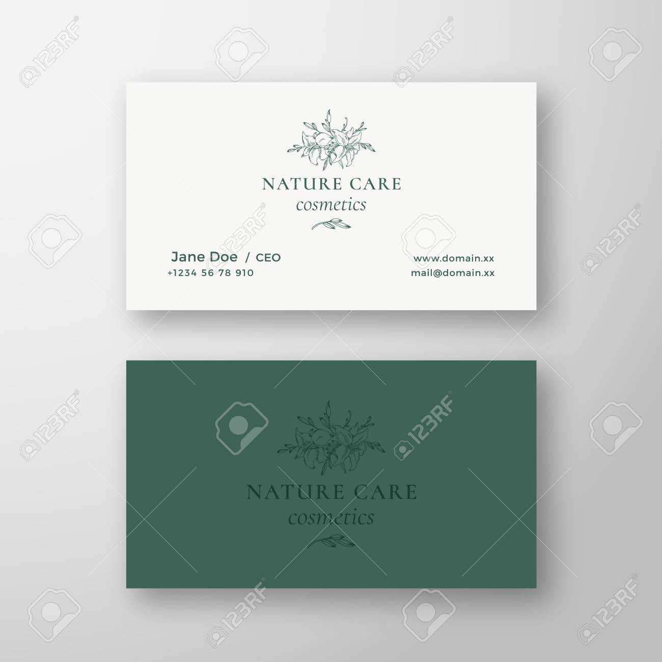 Nature care cosmetics vector sign or logo and business card template nature care cosmetics vector sign or logo and business card template premium stationary realistic mock colourmoves
