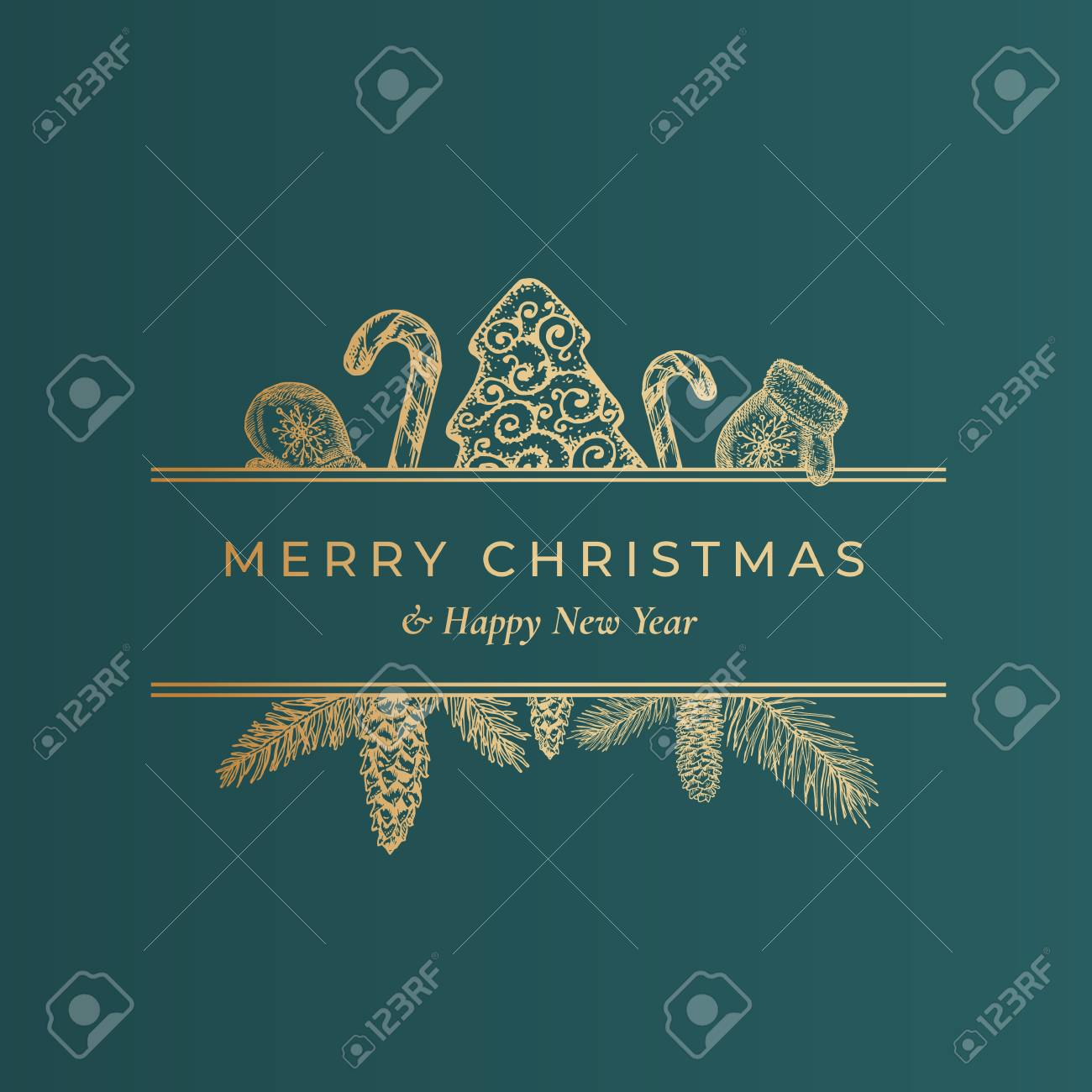 Merry Christmas Abstract Vector Classy Label Sign Or Card Template