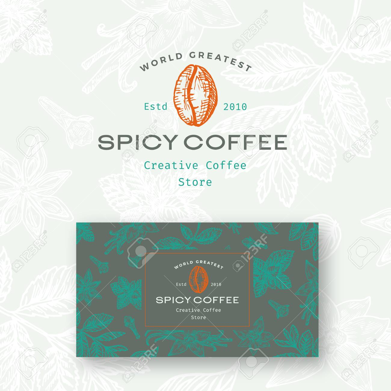 Abstract Vector Spicy Coffee Logo And Business Card Template