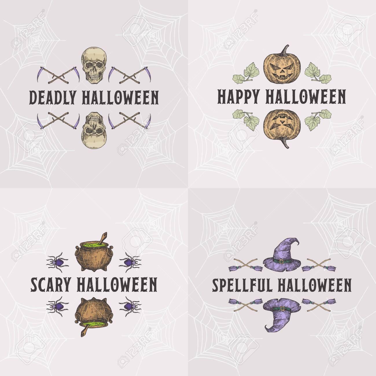 Vintage Style Halloween Headline or Title Greetings Labels Template