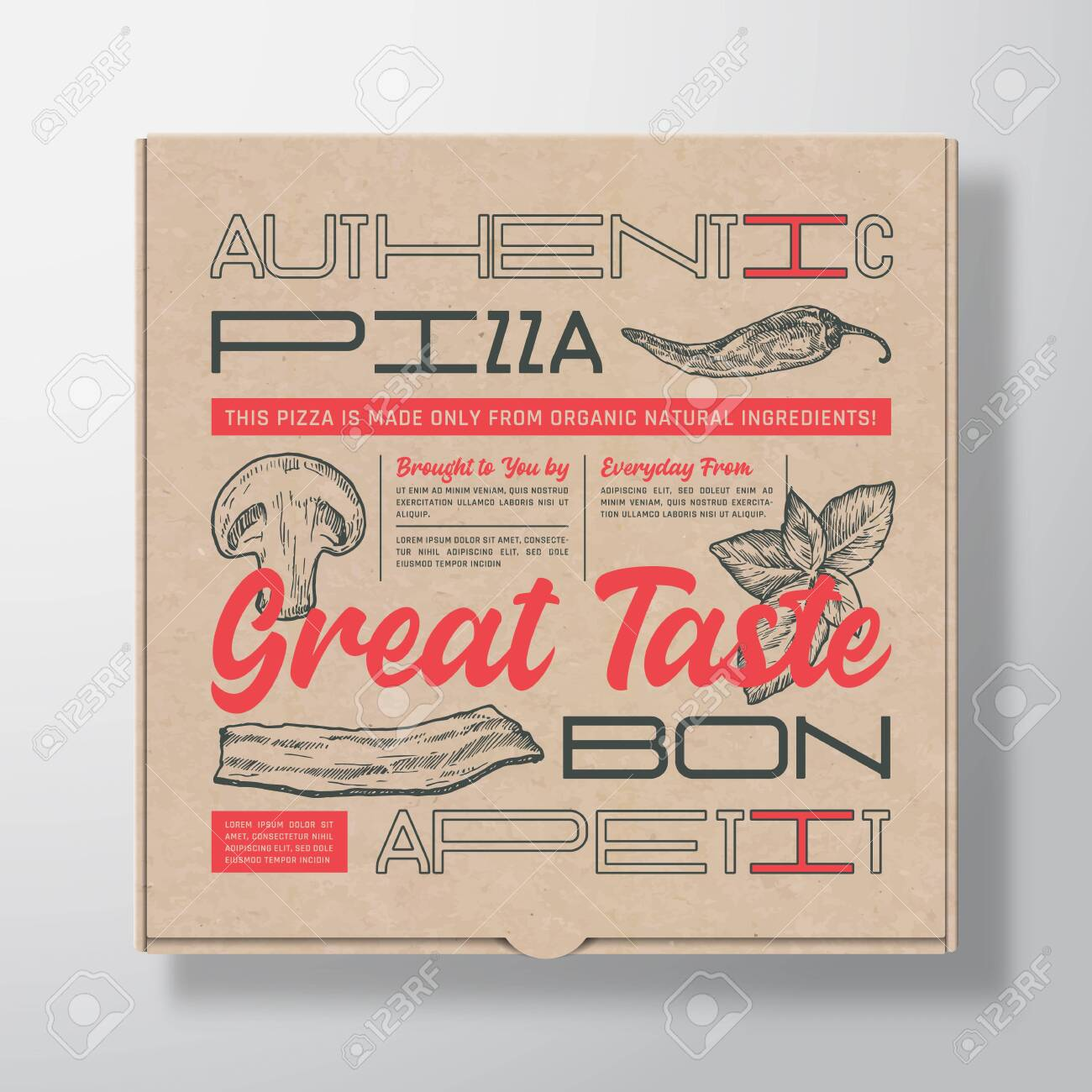 Pizza Realistic Cardboard Box Container. Abstract Vector Packaging Design or Label. Modern Typography, Hand Drawn Ingredients Mushroom, Basil, Bacon and Chilly. Craft Paper Background Layout. - 135462468