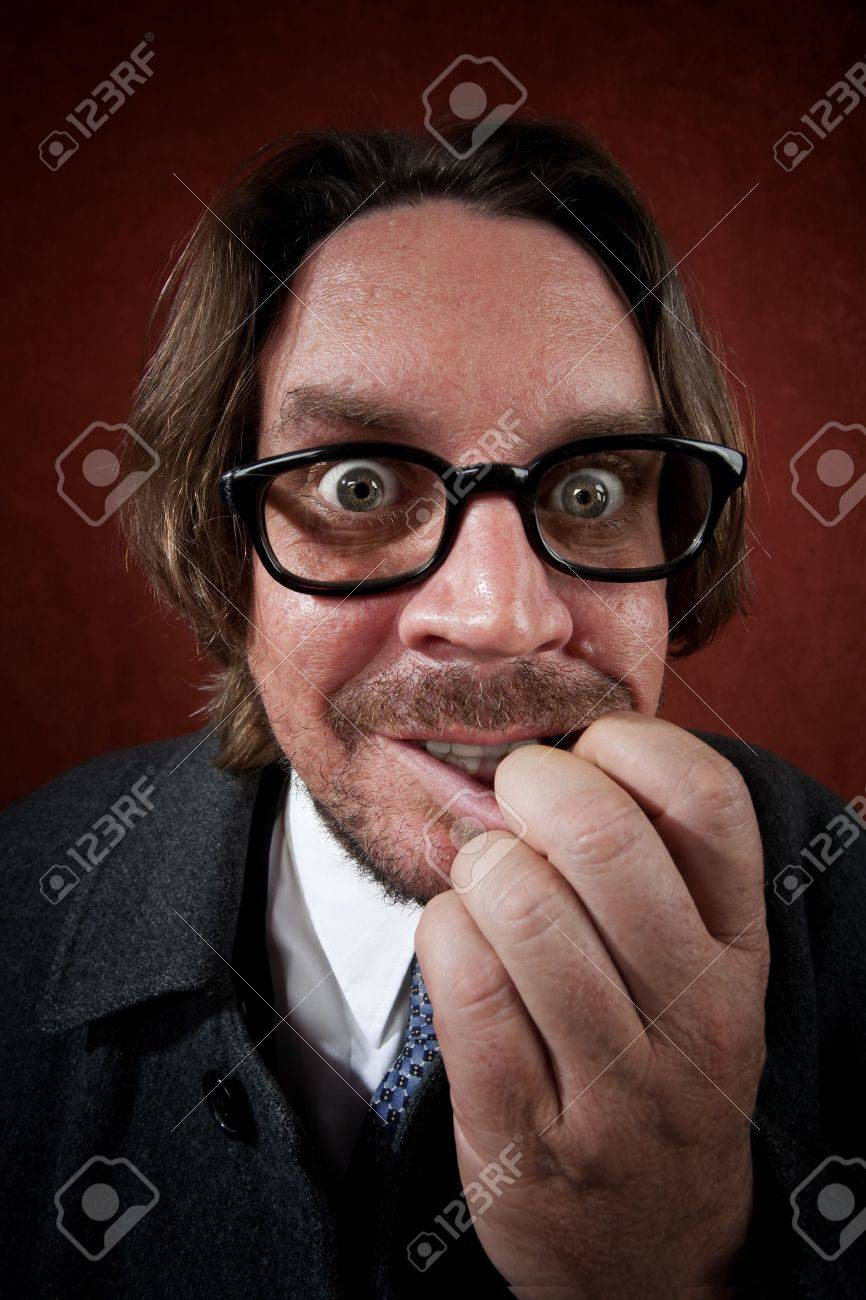 Potrait of worried rugged man with glasses making a funny face Stock Photo - 5176655