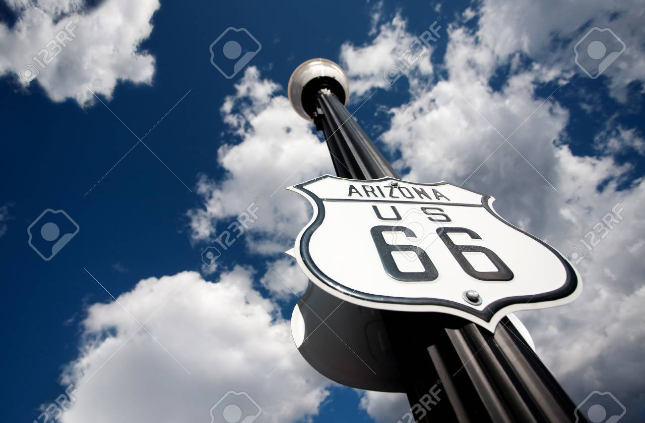 Route 66 sign on tall street lamp pole Stock Photo - 5690873