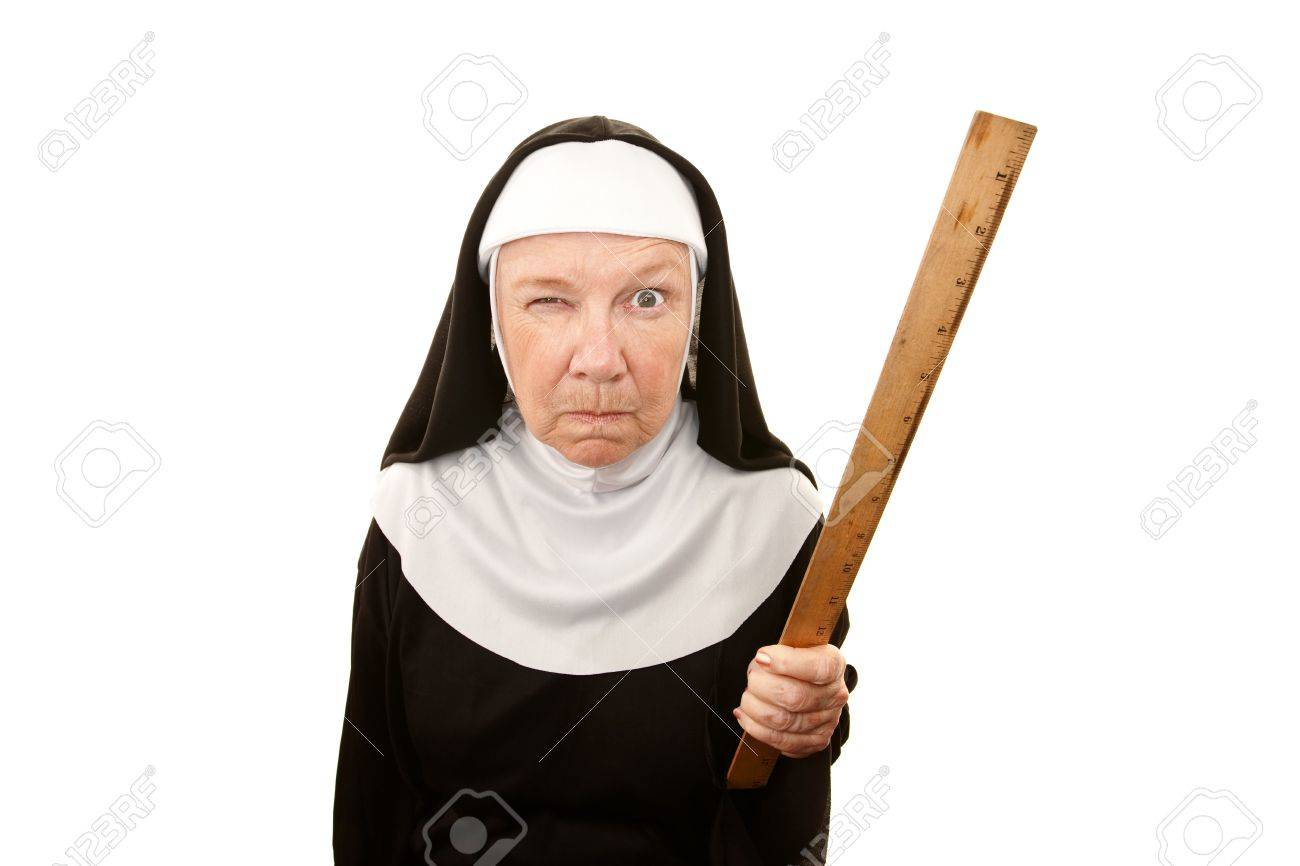 Funny Nun Carrying Wooden Ruler As A Weapon Stock Photo, Picture And  Royalty Free Image. Image 6402745.