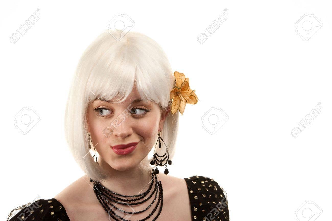 Archivio Fotografico - Retrò donna con i capelli bianchi in stile anni  ottanta o novanta 46f28a6e4dbd