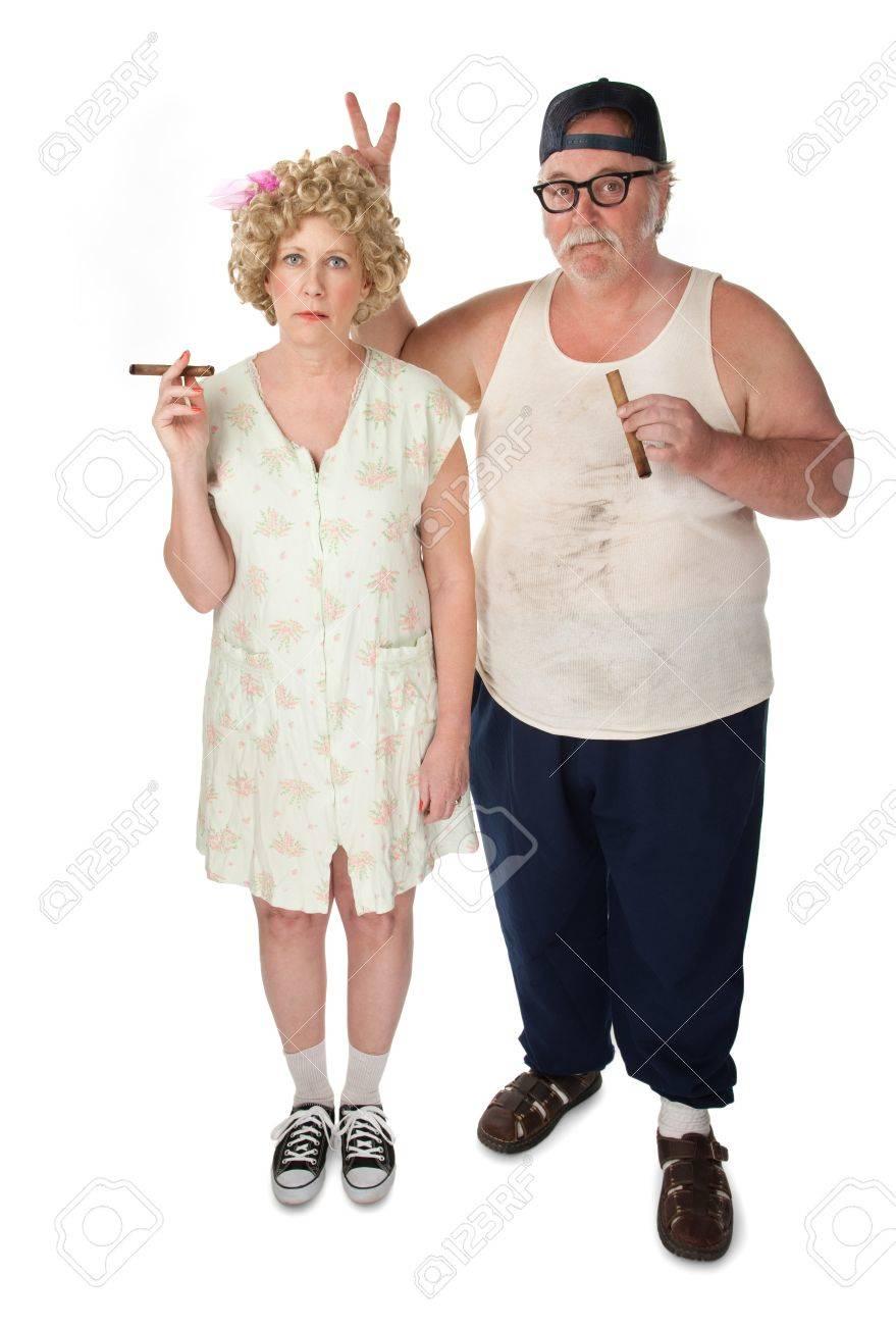 Homely couple on white background Stock Photo - 7301460