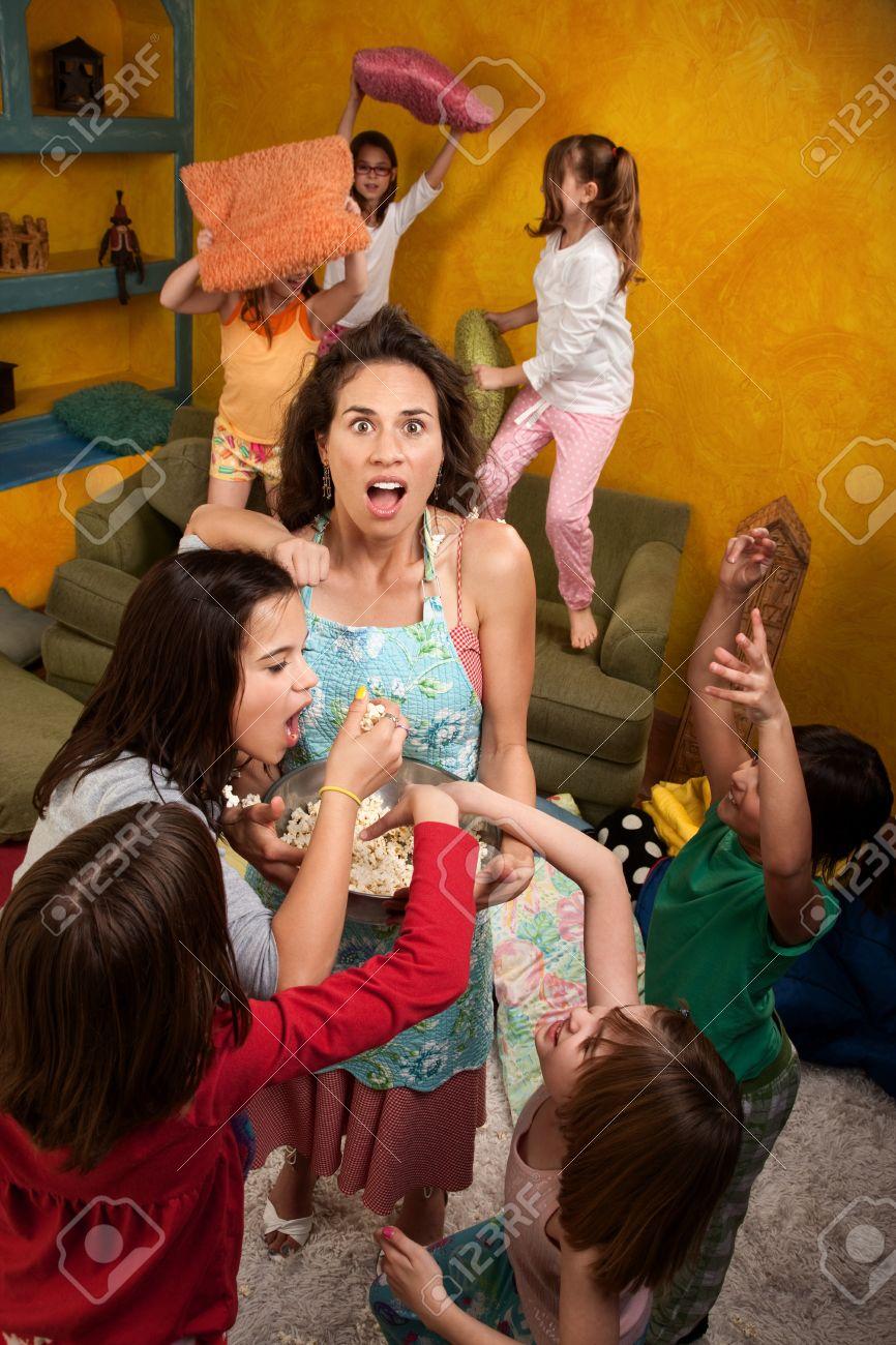 little naked girl Shocked mother among wild little girls at a sleepover Stock Photo - 9663423