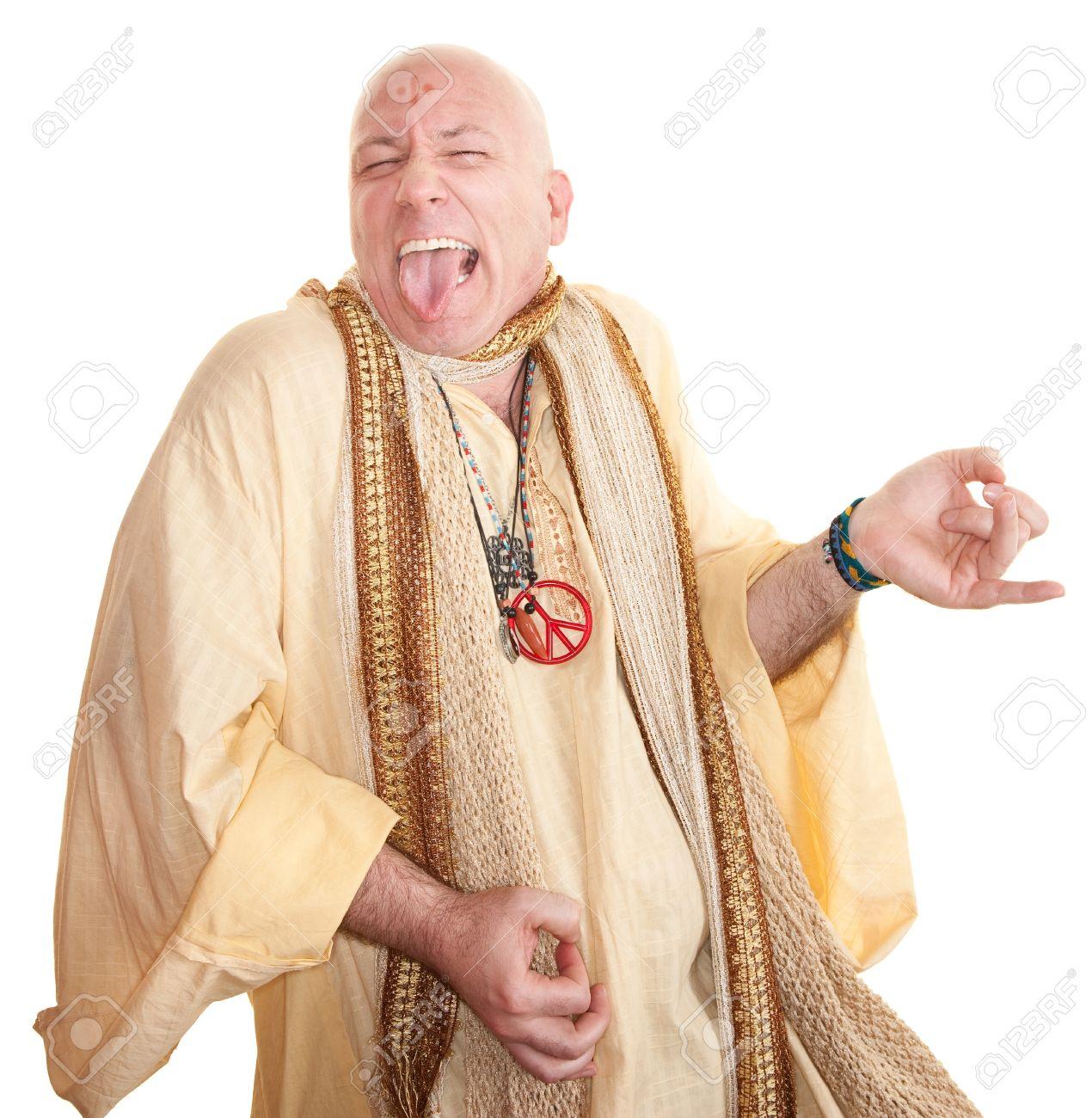 Crazy bald guru plays air guitar over white background Stock Photo - 10553256