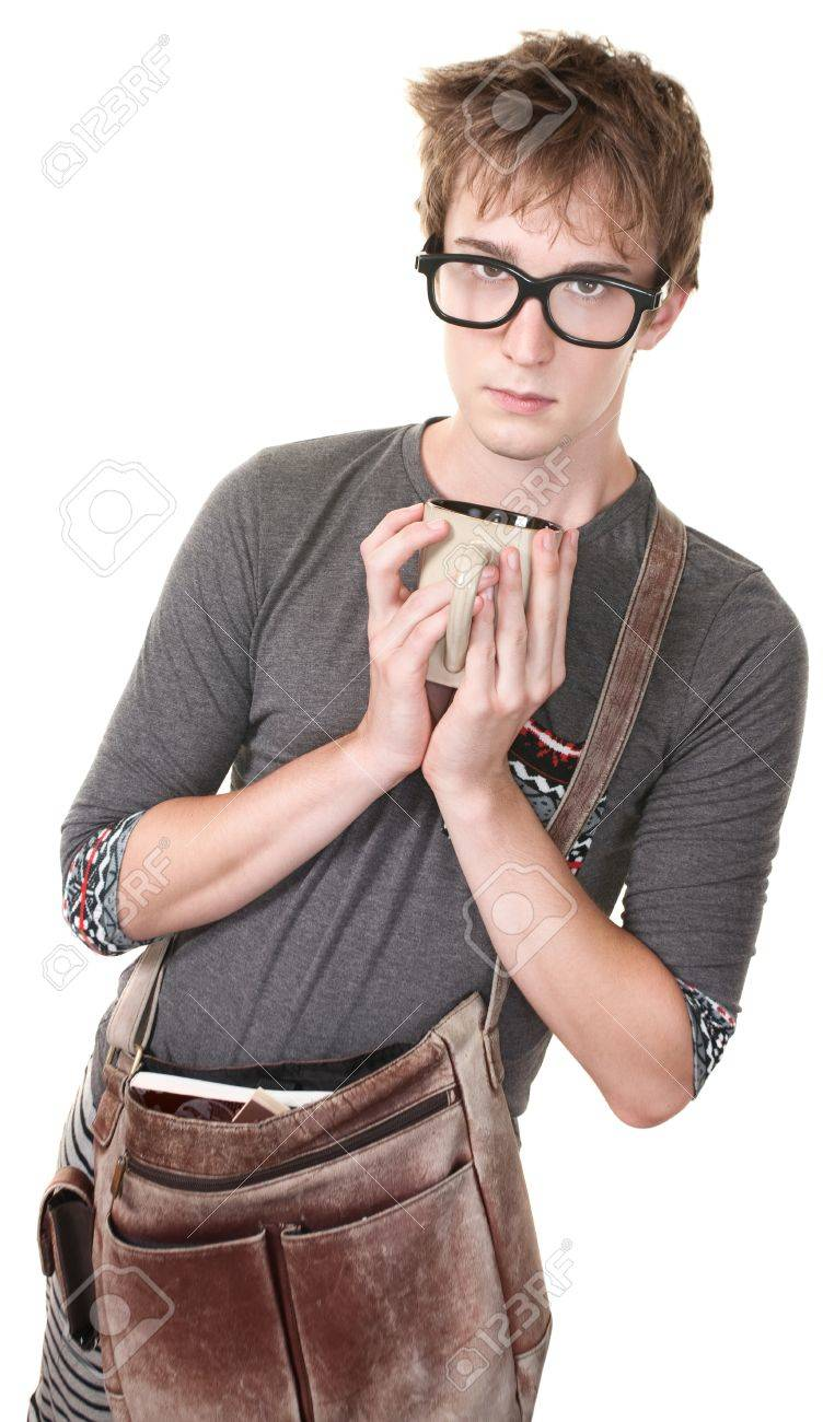 Skinny nerd with messenger bag and mug over white background Stock Photo - 10553353