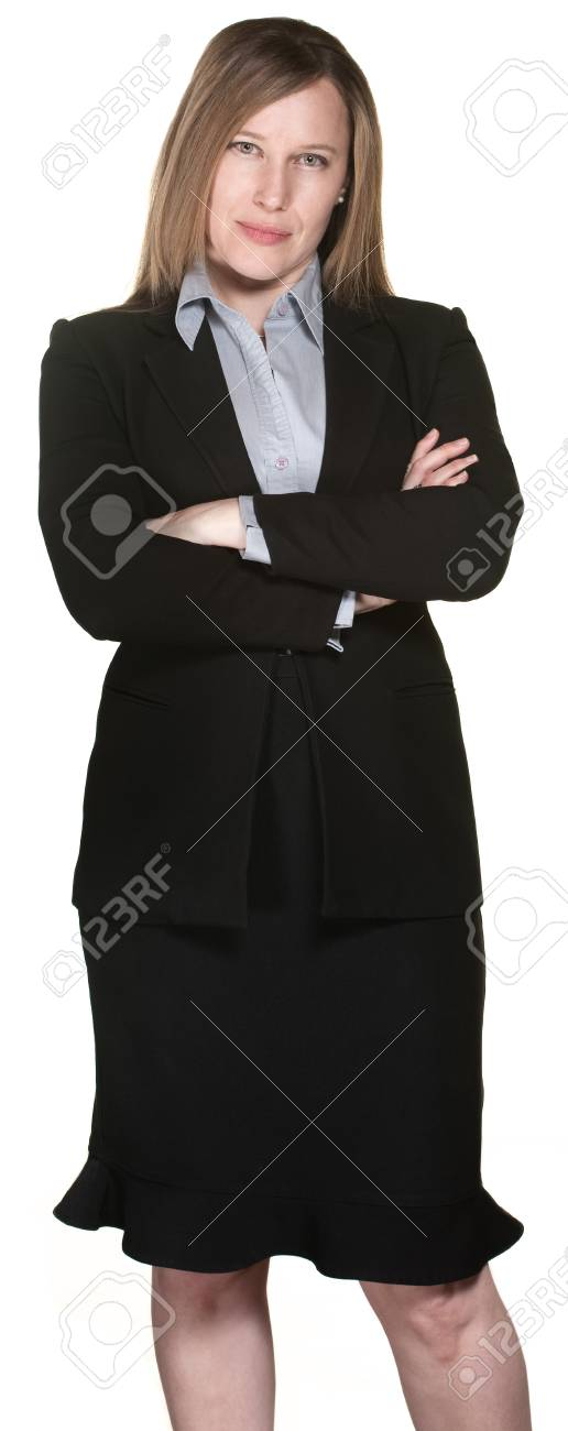 Serious business woman with folded arms over white background Stock Photo - 13649779